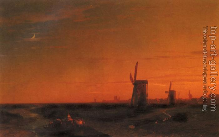Ivan Constantinovich Aivazovsky : Landscape With Windmills