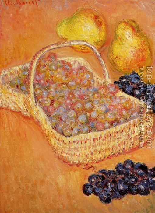 Claude Oscar Monet : Basket of Graphes, Quinces and Pears