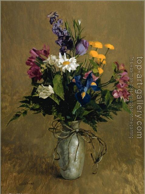 Pewter Vase With Flowers By William Whitaker Oil Painting Reproduction