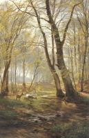 Carl Fredrik Aagard : A Woodland Scene With Deer