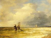 Andreas Achenbach : Fishing Along the Shore