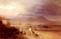 Oswald Achenbach : Fishermen with the Bay of Naples and Vesuvius beyond