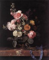 Willem Van Aelst : Vase of Flowers with Watch