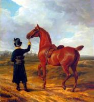 Jacques-Laurent Agasse : Lord Rivers' Groom Leading a Chestnut Hunter towards a Coursing Party in Hampshire