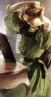 John White Alexander : Young Woman Arranging Her Hair