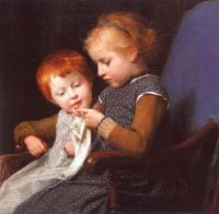 Albert Anker : The Little Knitters