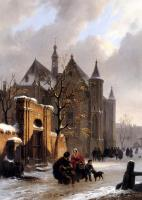 Bartholomeus Johannes Van Hove : A Capricio View With Figures Leaving A Church In Winter