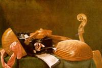 Evaristo Baschenis : Graphic Still-Life of Musical Instruments