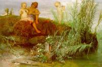 Amold Bocklin : Children Carving May Flutes