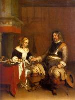 Gerard Ter Borch : Soldier Offering a Young Woman Coins