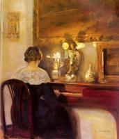 Carl Holsoe : A Lady Playing the Spinet