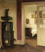 Carl Holsoe : An Interior with a Stove and a View into a Dining Room