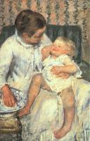 Mary Cassatt : Mother About to Wash Her Sleepy Child