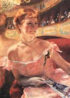 Mary Cassatt : Lydia in a Loge Wearing a Pearl Necklace