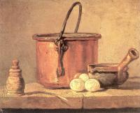 Jean Baptiste Simeon Chardin : Copper Cauldron with Three Eggs