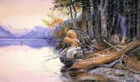 Charles Marion Russell : Indian Camp Lake McDonald