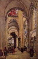 Jean-Baptiste-Camille Corot : Interior of Sens Cathedral