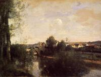 Jean-Baptiste-Camille Corot : Old Bridge at Limay, on the Seine