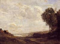 Jean-Baptiste-Camille Corot : Landscape by the Lake