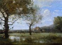 Jean-Baptiste-Camille Corot : Meadow with Two Large Trees