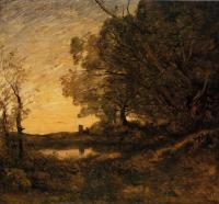 Jean-Baptiste-Camille Corot : Evening, Distant Tower