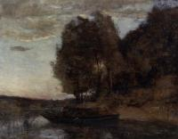Jean-Baptiste-Camille Corot : Fisherman Boating along a Wooded Landscape