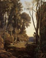 Jean-Baptiste-Camille Corot : Landscape, Setting Sun (The Little Shepherd)