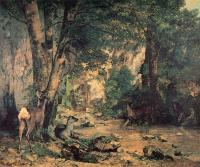 Gustave Courbet : A Thicket of Deer at the Stream of Plaisir-Fountaine