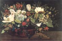 Gustave Courbet : Basket of Flowers