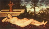 Lucas The Elder Cranach : Reclining River Nymph at the Fountain