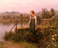 Daniel Ridgway Knight : A Woman With A Watering Can By The River