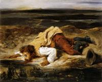 Eugene Delacroix : A Mortally Wounded Brigand Quenches his Thirst