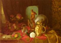 Blaise Alexandre Desgoffe : Still Life with Fruit, Objets d'Art and a White Rose on a Ta