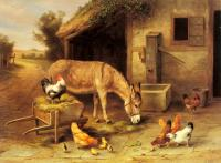 Edgar Hunt : A Donkey And Chickens Outside A Stable