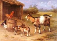 Edgar Hunt : A farmyard Scene With Goats And Chickens