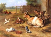 Edgar Hunt : A farmyard Scene With Goats Chickens Doves