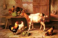 Edgar Hunt : Goat And Chickens Feeding In A Cottage Interior