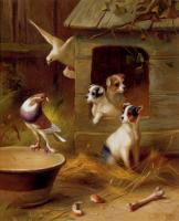 Edgar Hunt : Pigeons And Puppies