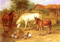 Edgar Hunt : Ponies Donky and Ducks In A Farmyard