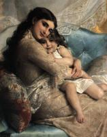 Emile Munier : portrait of a mother and daughter
