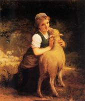 Emile Munier : Young Girl with Lamb