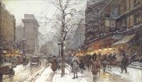 Eugene Galien-Laloue : A Busy Boulavard Under Snow