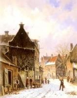 Adrianus Eversen : A Village Street Scene in Winter