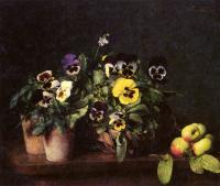 Henri Fantin-Latour : Still Life With Pansies
