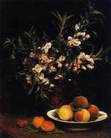 Henri Fantin-Latour : Still Life Balsimines, Peaches and Apricots