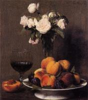 Henri Fantin-Latour : Still Life with Roses, Fruit and a Glass of Wine