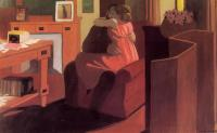 Felix Vallotton : Interior with Couple and Screen, Intimacy
