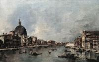 Francesco Guardi : The Grand Canal with San Simeone Piccolo and Santa Lucia