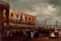 Francesco Guardi : Venice A View Of The Piazzetta Looking South With The Palazzo Ducale