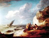 Thomas Gainsborough : A Rocky Coastal Scene